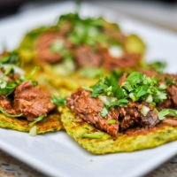 Chicken & Steak Tacos with Cauliflower Tortillas